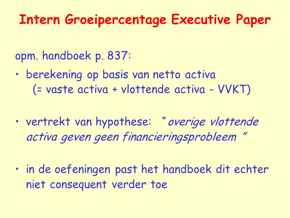 Intern Groeipercentage Executive Paper