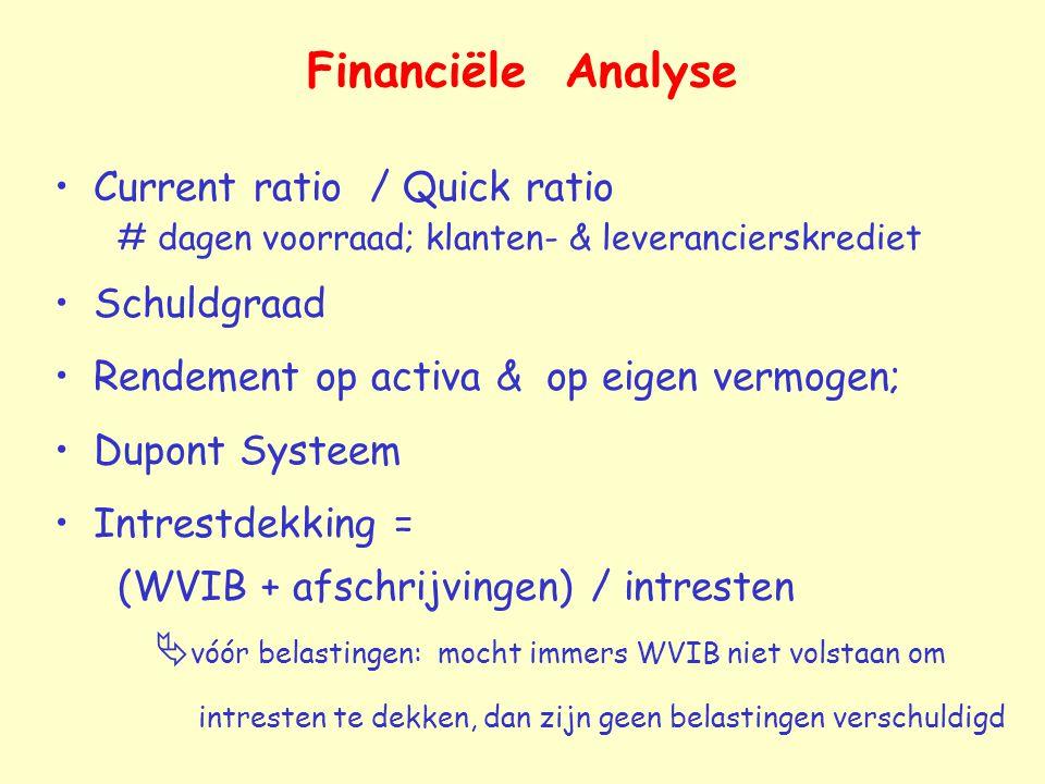 Financiële Analyse Current ratio / Quick ratio # dagen voorraad; klanten- & leverancierskrediet.