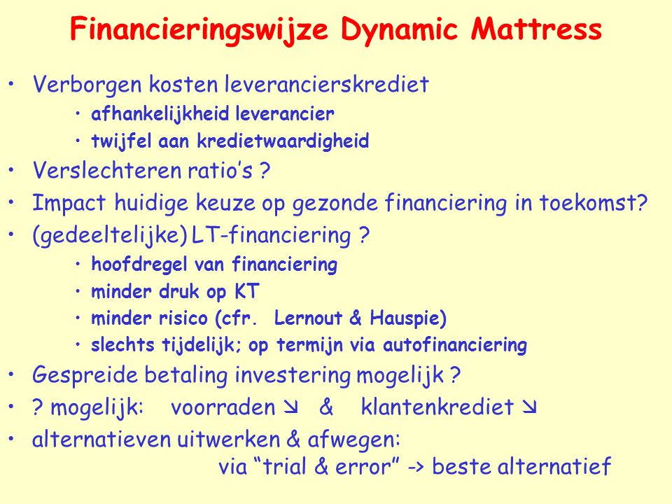 Financieringswijze Dynamic Mattress