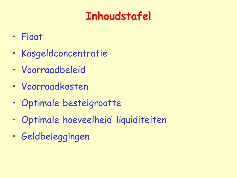 Inhoudstafel Float Kasgeldconcentratie Voorraadbeleid Voorraadkosten