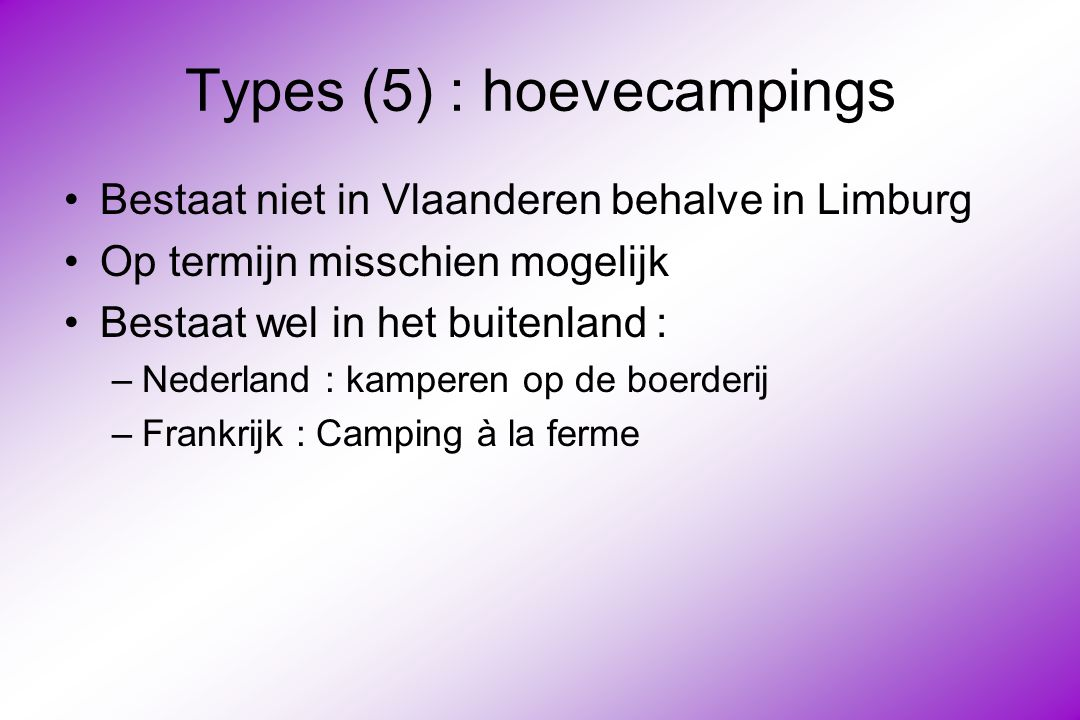 Types (5) : hoevecampings