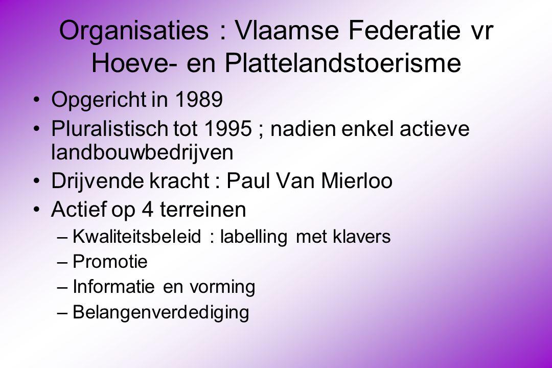 Organisaties : Vlaamse Federatie vr Hoeve- en Plattelandstoerisme