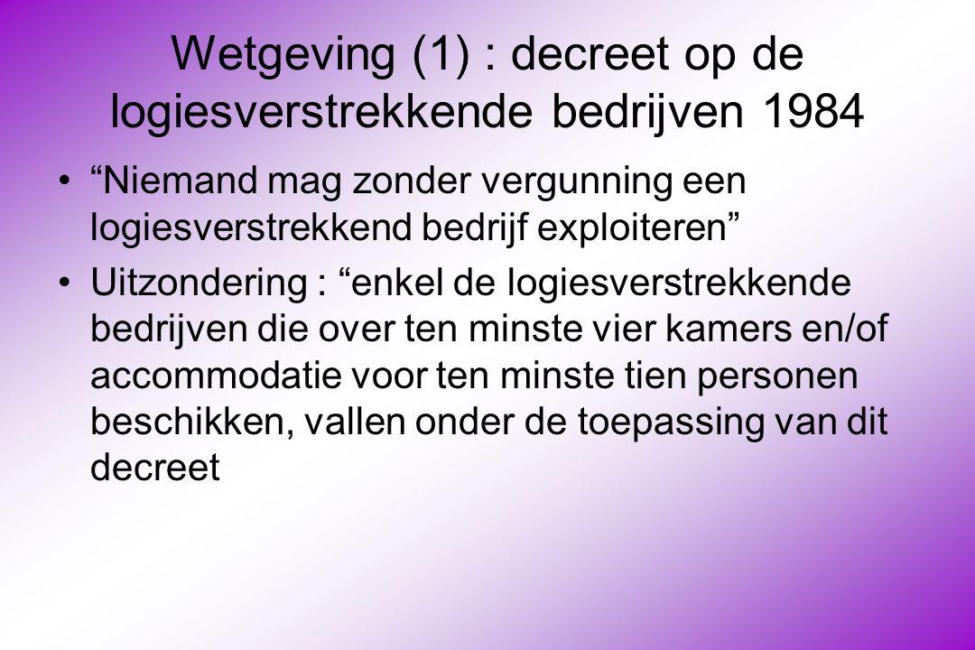 Wetgeving (1) : decreet op de logiesverstrekkende bedrijven 1984