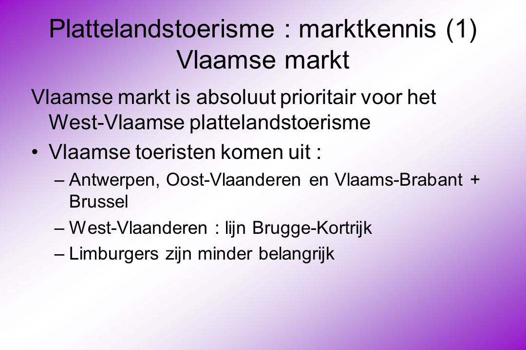 Plattelandstoerisme : marktkennis (1) Vlaamse markt