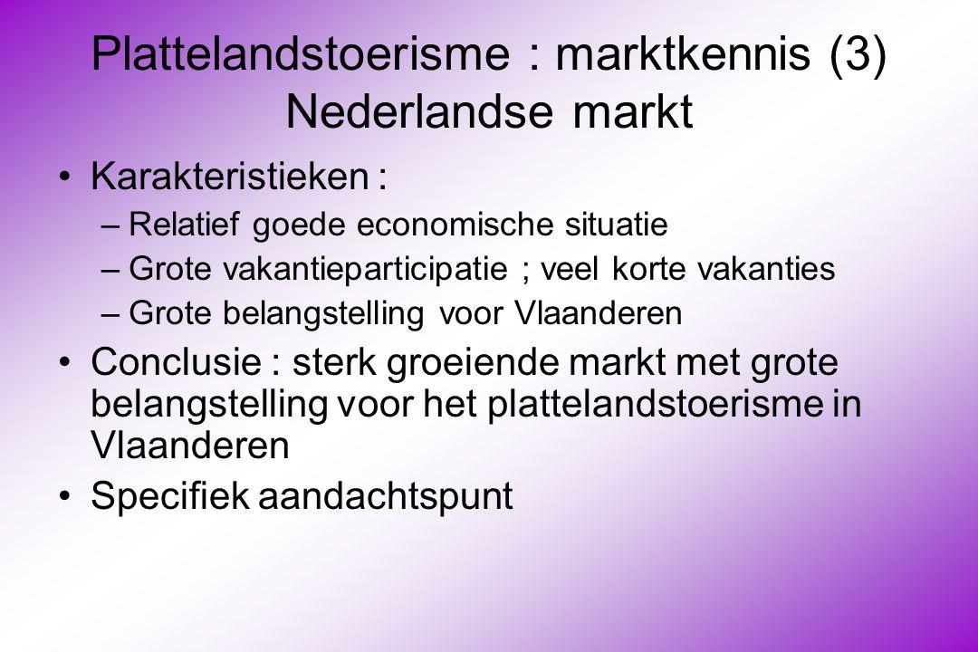 Plattelandstoerisme : marktkennis (3) Nederlandse markt