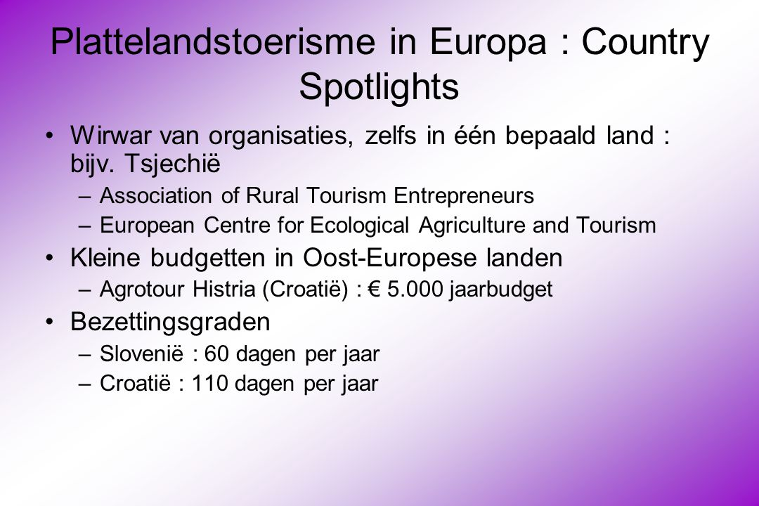 Plattelandstoerisme in Europa : Country Spotlights