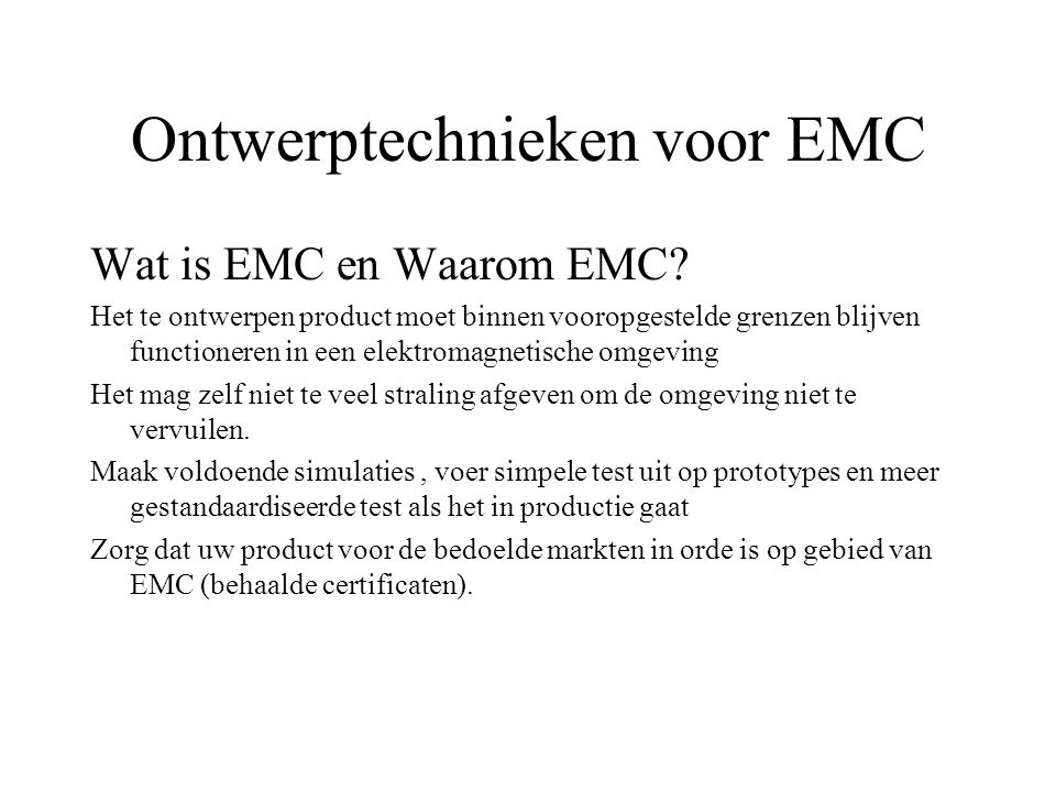 Ontwerptechnieken voor EMC