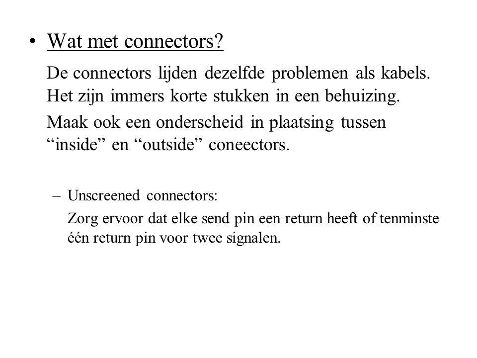 Wat met connectors De connectors lijden dezelfde problemen als kabels. Het zijn immers korte stukken in een behuizing.