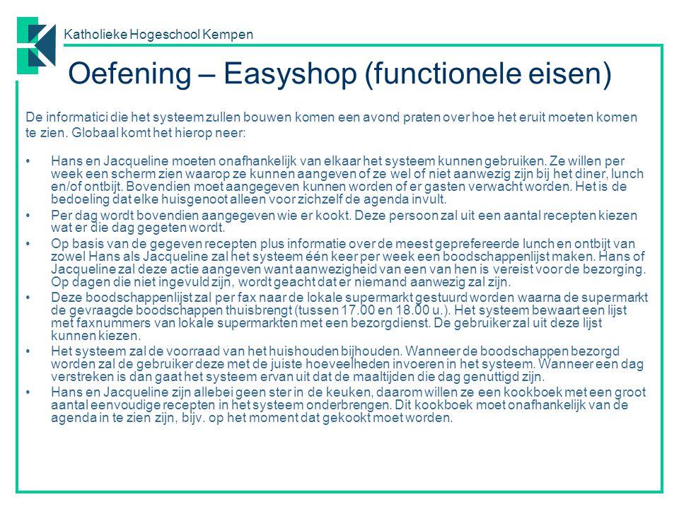 Oefening – Easyshop (functionele eisen)