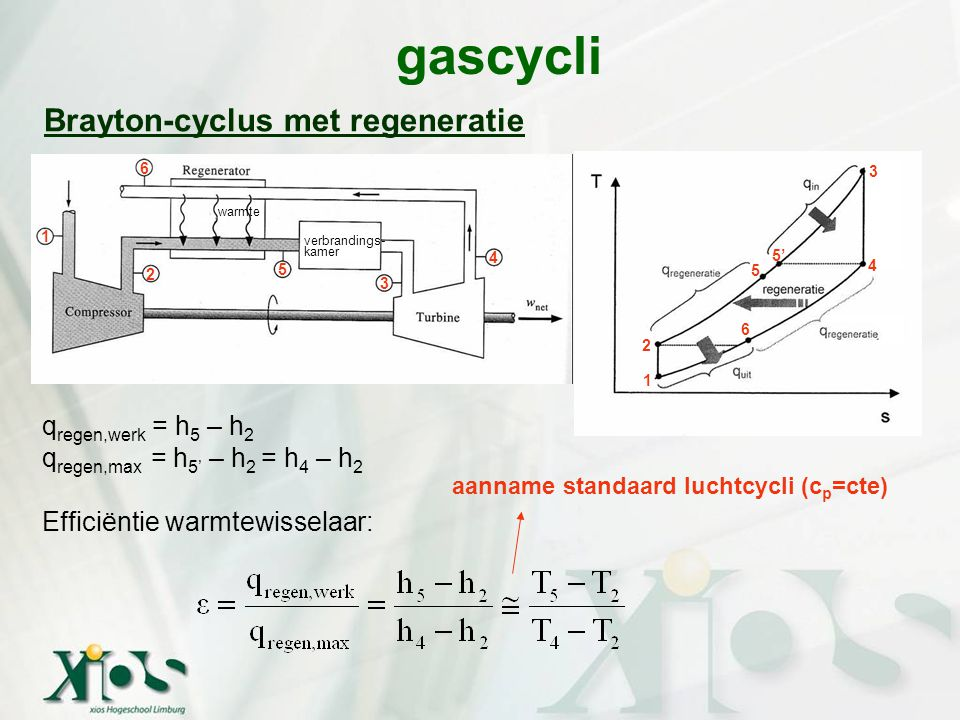 gascycli Brayton-cyclus met regeneratie qregen,werk = h5 – h2