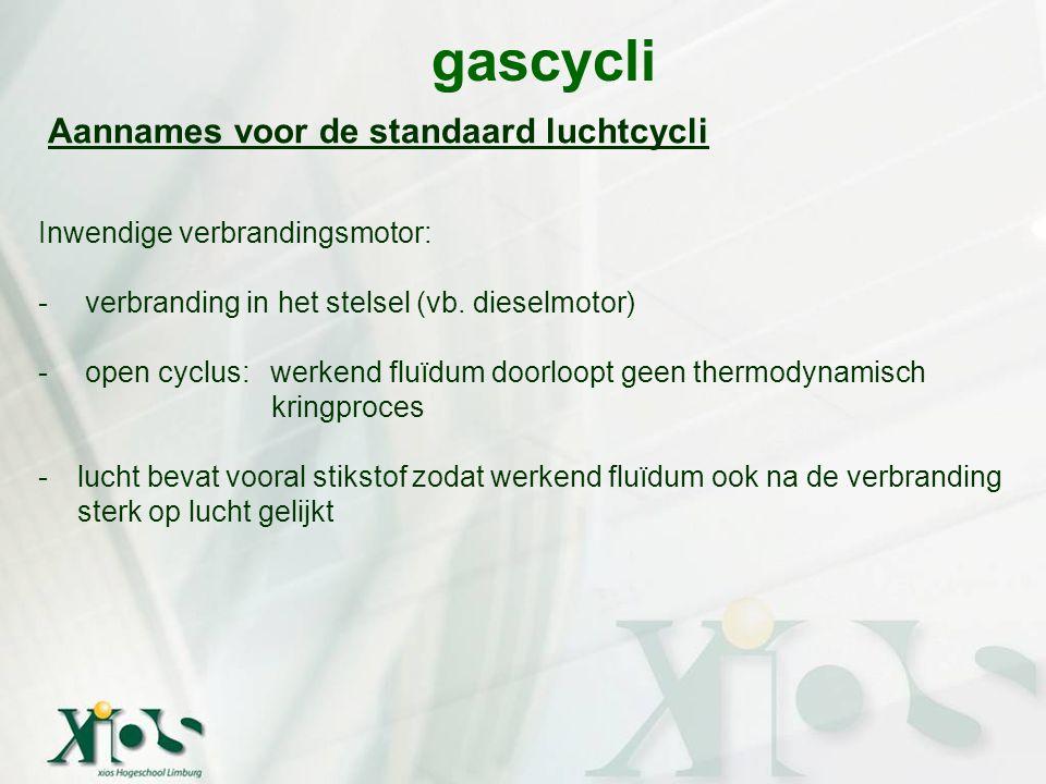 gascycli Aannames voor de standaard luchtcycli