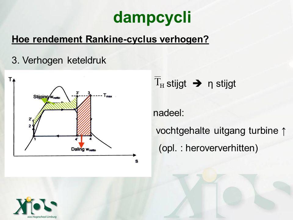 dampcycli Hoe rendement Rankine-cyclus verhogen 3. Verhogen keteldruk