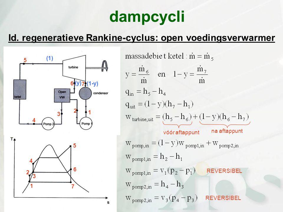 dampcycli Id. regeneratieve Rankine-cyclus: open voedingsverwarmer (1)