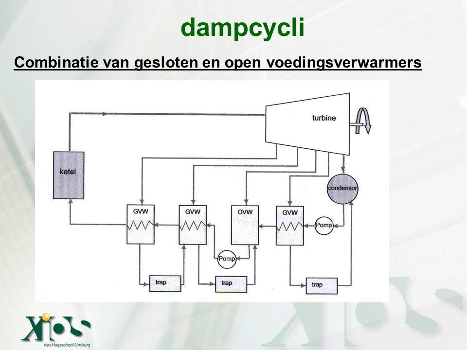dampcycli Combinatie van gesloten en open voedingsverwarmers