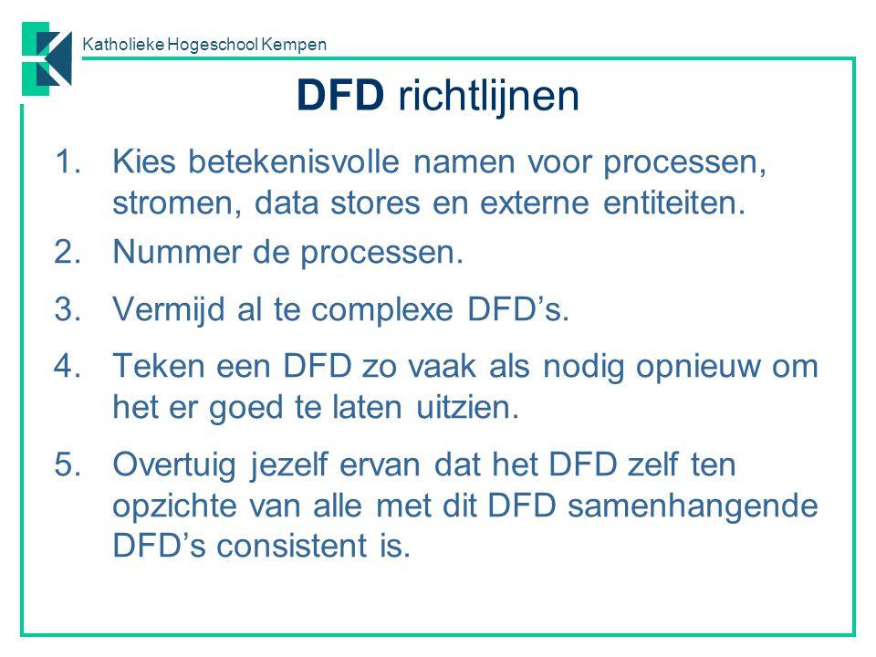 DFD richtlijnen Kies betekenisvolle namen voor processen, stromen, data stores en externe entiteiten.