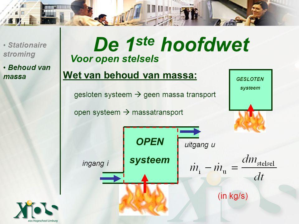 De 1ste hoofdwet Voor open stelsels Wet van behoud van massa: OPEN