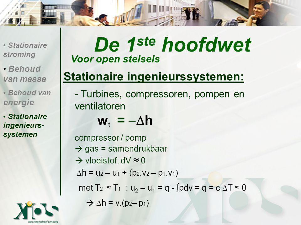 De 1ste hoofdwet compressor / pomp Stationaire ingenieurssystemen: