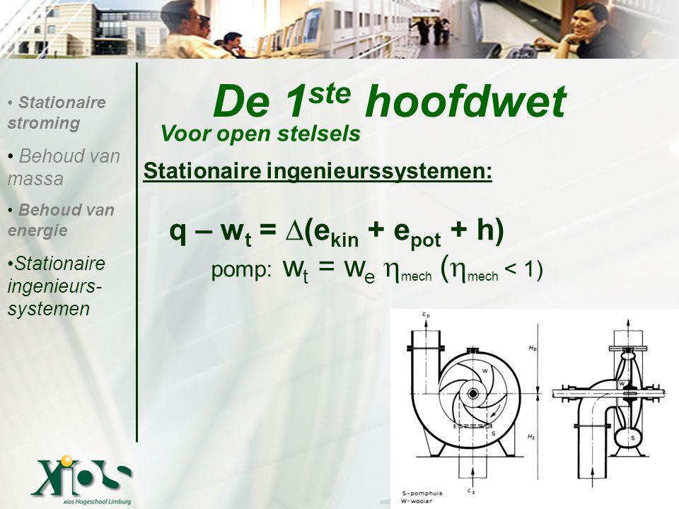 De 1ste hoofdwet q – wt = ∆(ekin + epot + h)