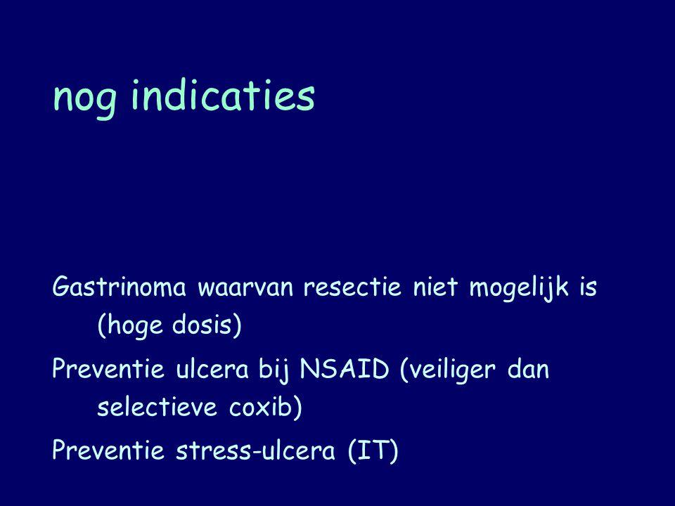 nog indicaties Gastrinoma waarvan resectie niet mogelijk is (hoge dosis) Preventie ulcera bij NSAID (veiliger dan selectieve coxib)