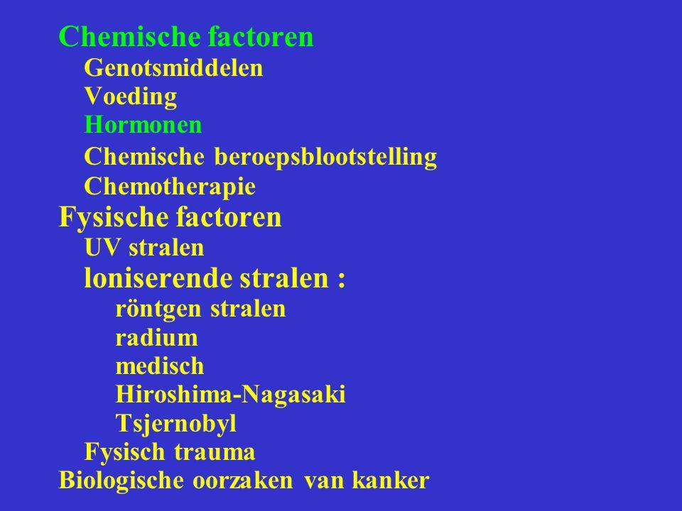 Chemische beroepsblootstelling Fysische factoren loniserende stralen :