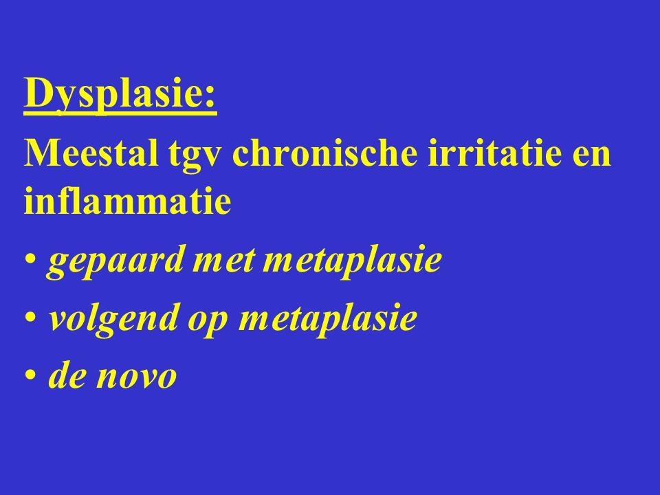 Dysplasie: Meestal tgv chronische irritatie en inflammatie