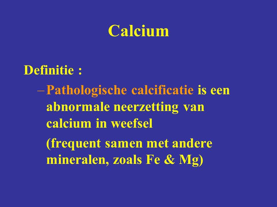Calcium Definitie : Pathologische calcificatie is een abnormale neerzetting van calcium in weefsel.