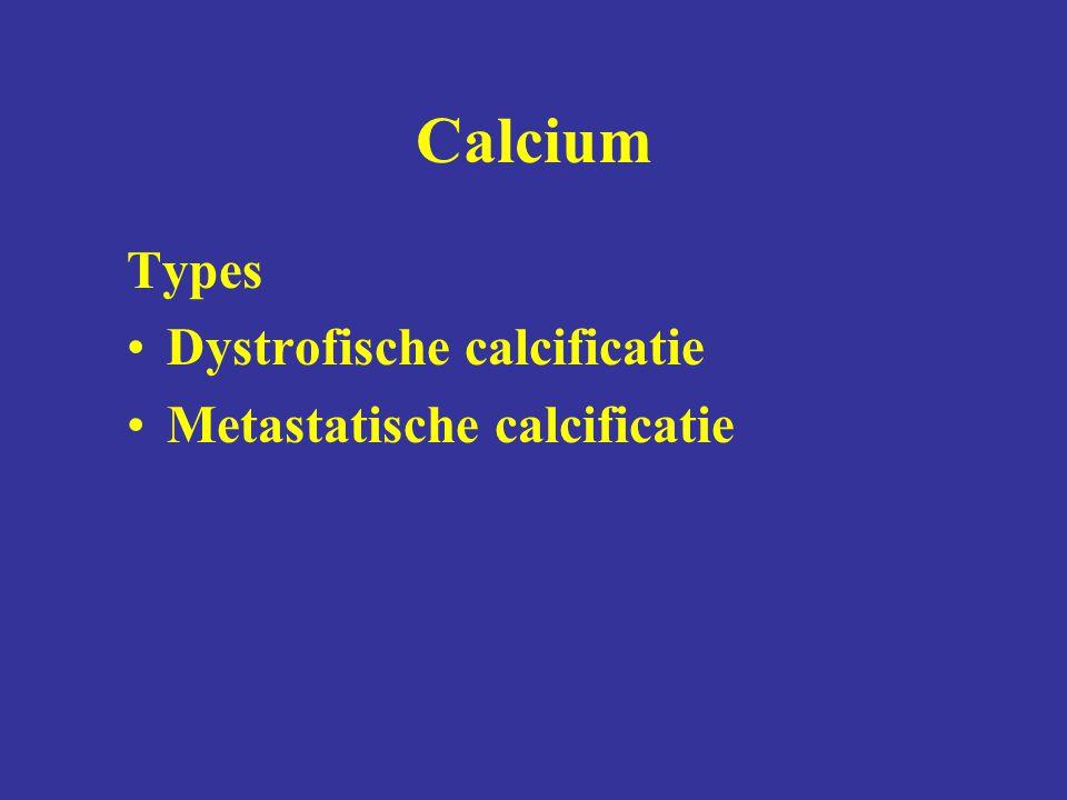 Calcium Types Dystrofische calcificatie Metastatische calcificatie