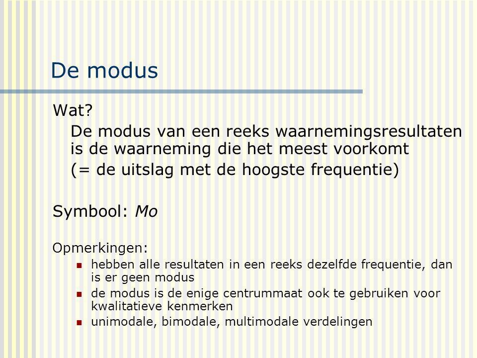 De modus Wat De modus van een reeks waarnemingsresultaten is de waarneming die het meest voorkomt.