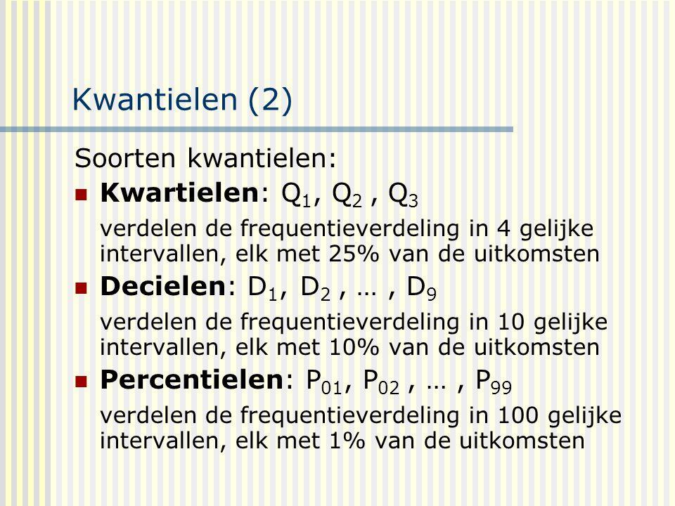 Kwantielen (2) Soorten kwantielen: Kwartielen: Q1, Q2 , Q3