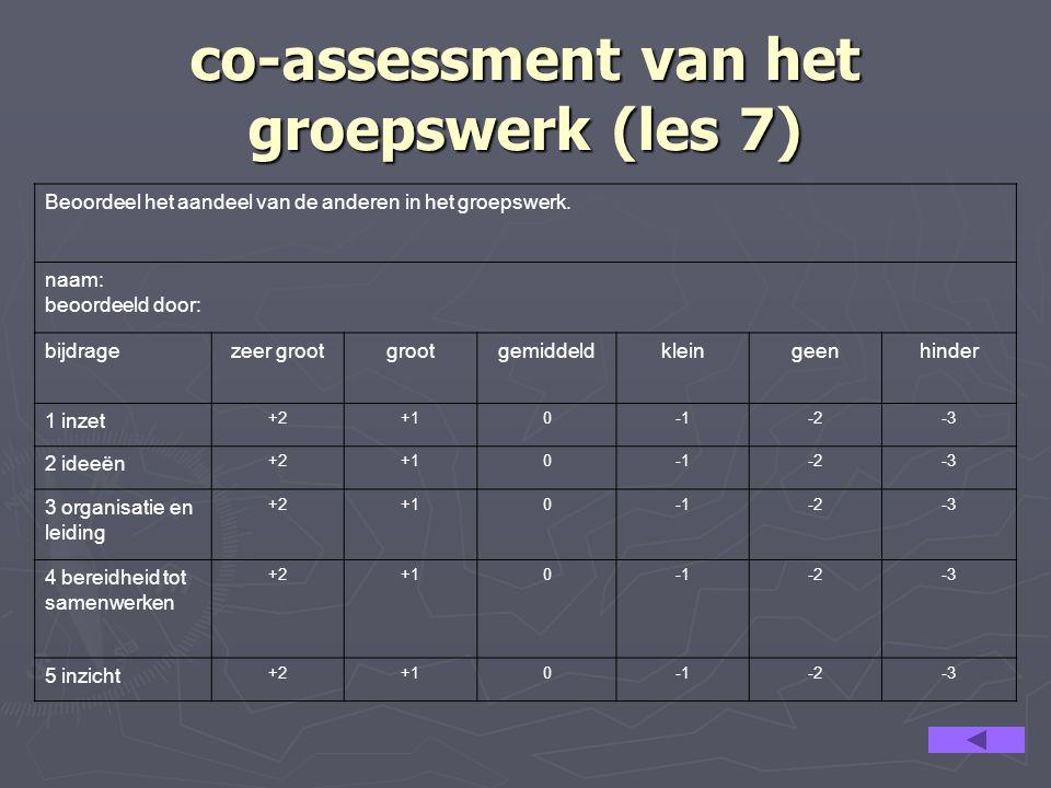 co-assessment van het groepswerk (les 7)