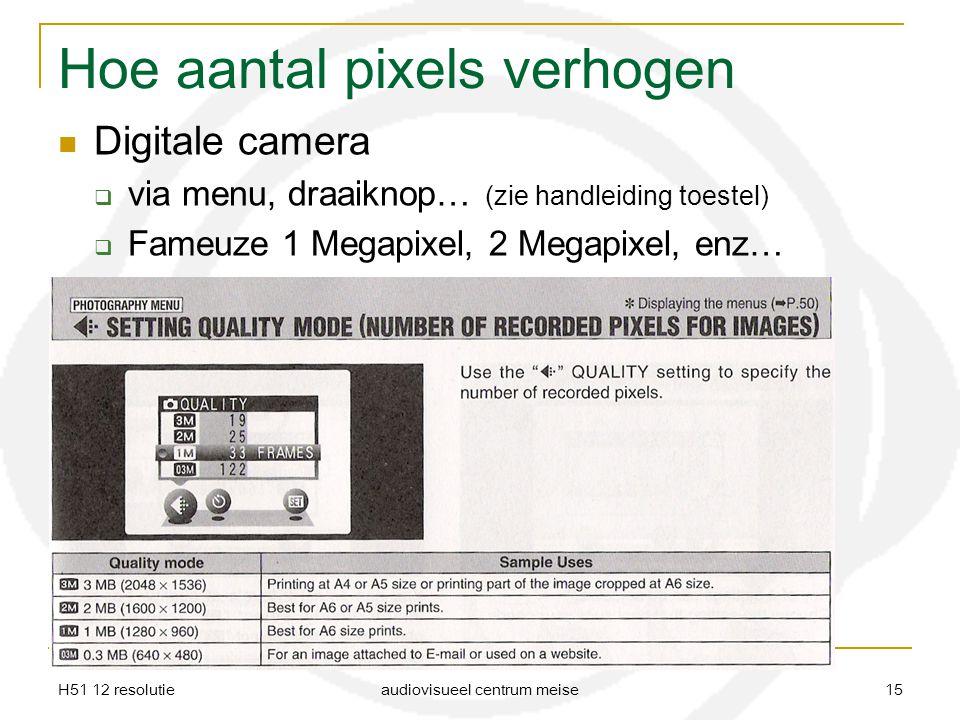 Hoe aantal pixels verhogen