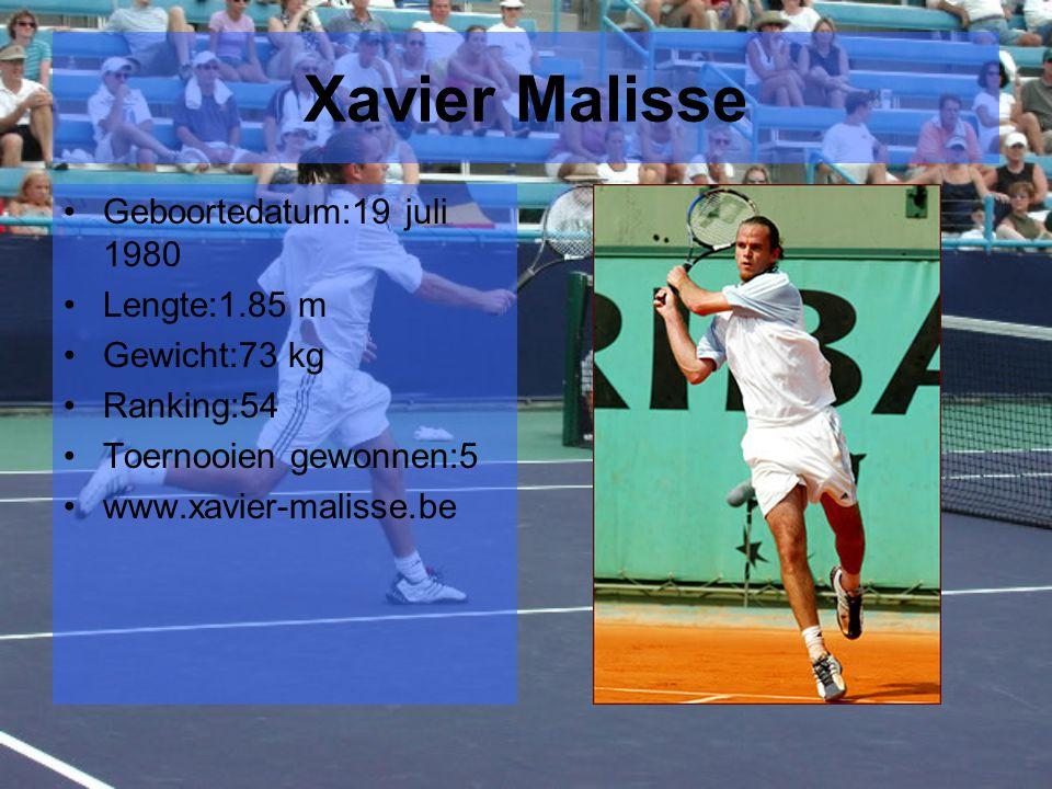 Xavier Malisse Geboortedatum:19 juli 1980 Lengte:1.85 m Gewicht:73 kg