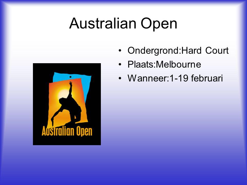 Australian Open Ondergrond:Hard Court Plaats:Melbourne