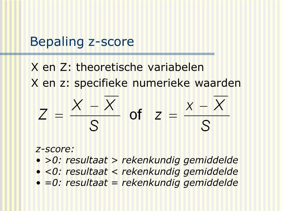 Bepaling z-score X en Z: theoretische variabelen