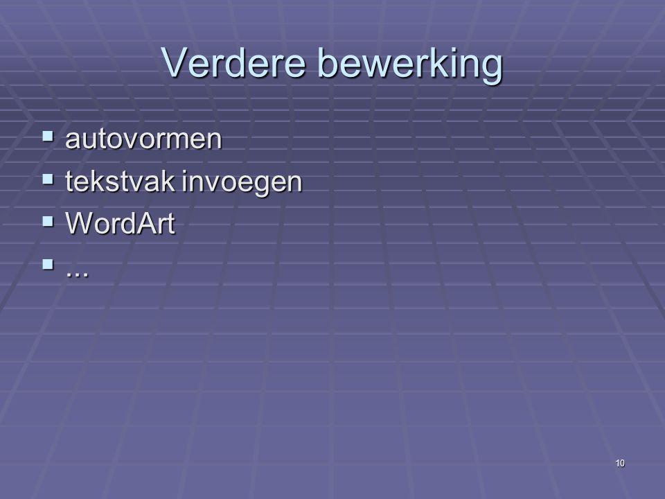 Verdere bewerking autovormen tekstvak invoegen WordArt ...