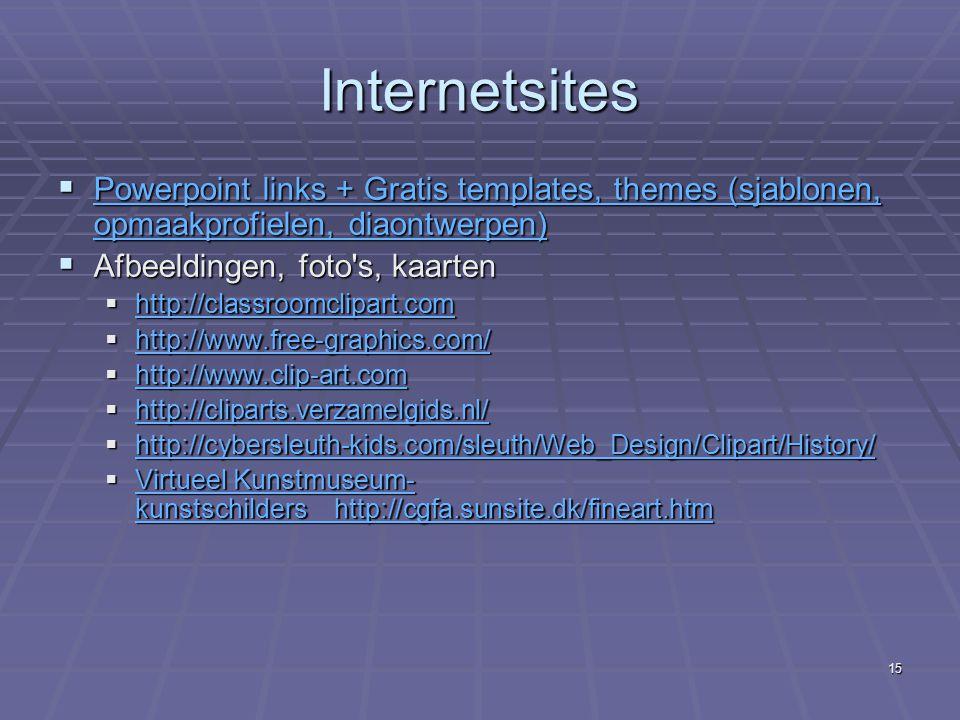 Internetsites Powerpoint links + Gratis templates, themes (sjablonen, opmaakprofielen, diaontwerpen)