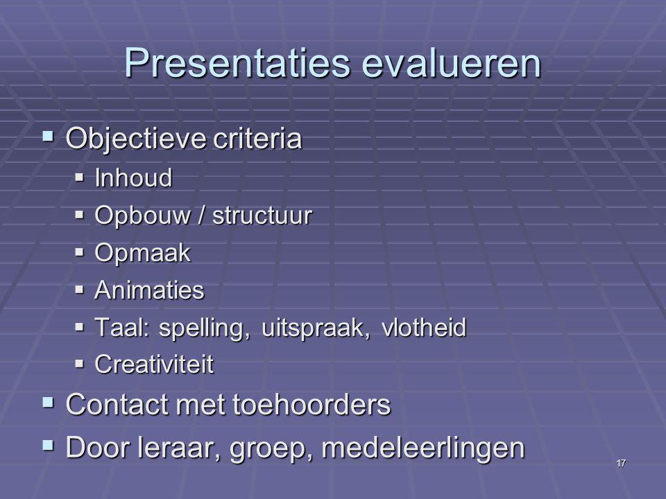 Presentaties evalueren