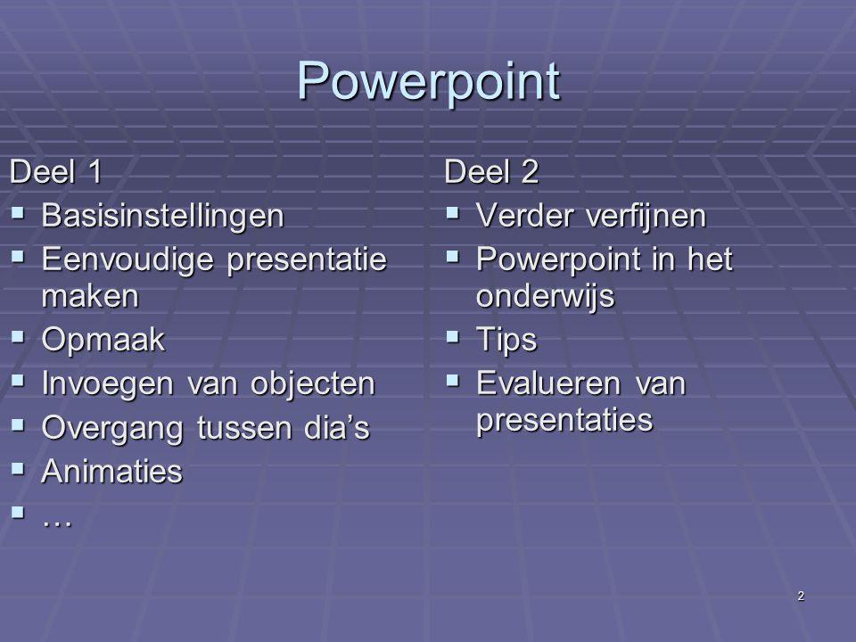 Powerpoint Deel 1 Basisinstellingen Eenvoudige presentatie maken