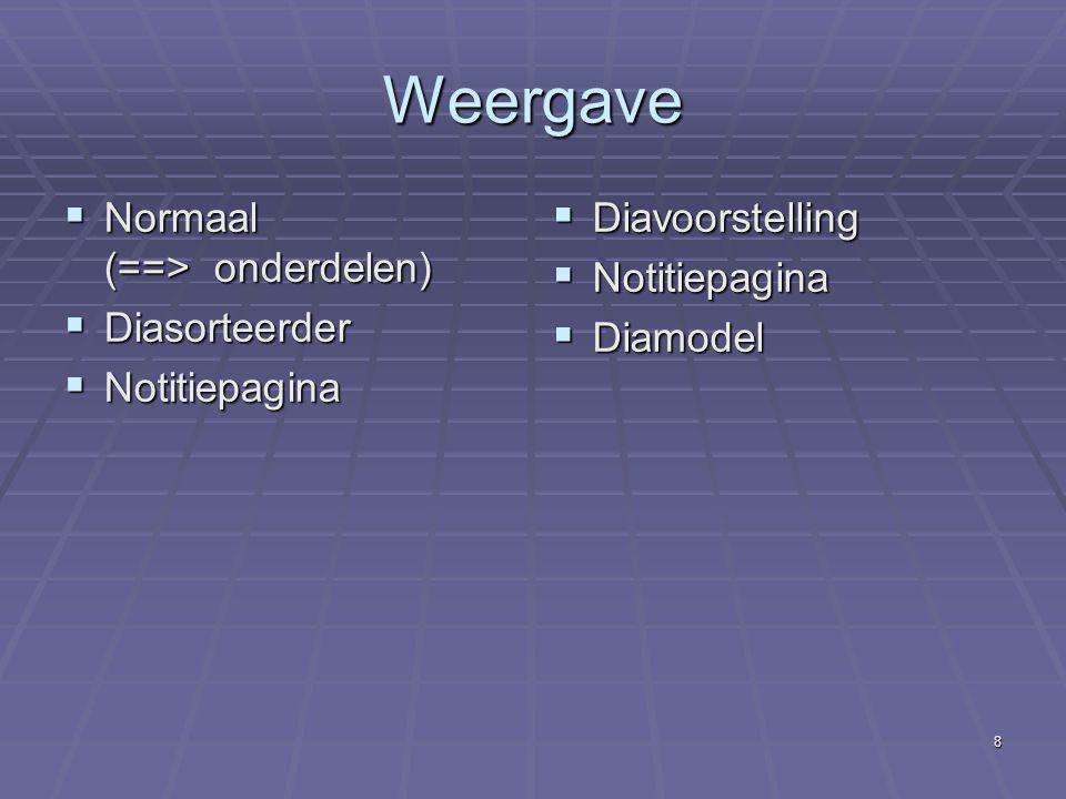 Weergave Normaal (==> onderdelen) Diasorteerder Notitiepagina