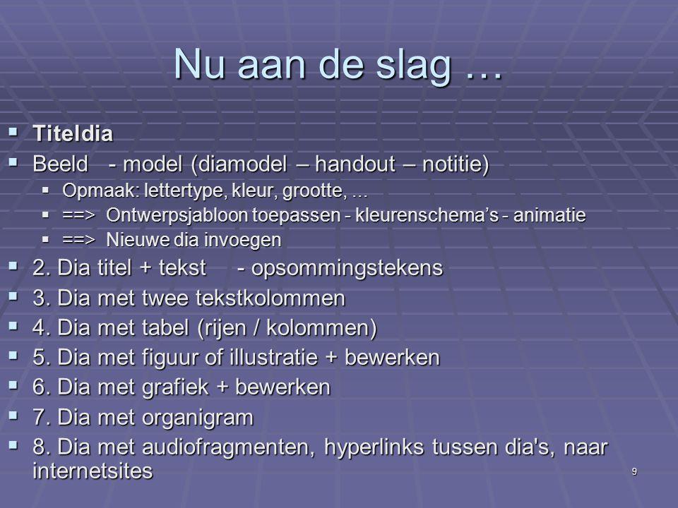 Nu aan de slag … Titeldia Beeld - model (diamodel – handout – notitie)