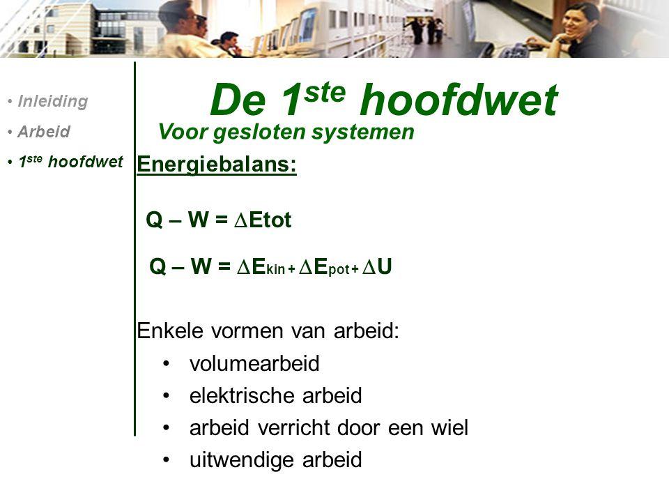 De 1ste hoofdwet Voor gesloten systemen Energiebalans: