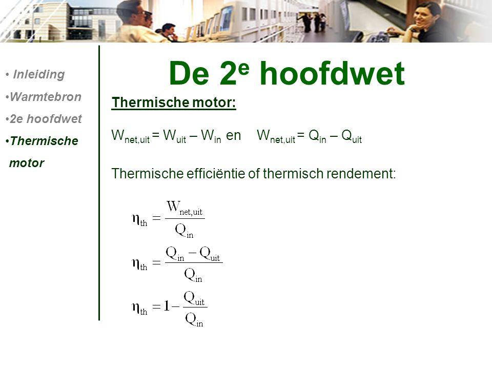 De 2e hoofdwet Thermische motor: