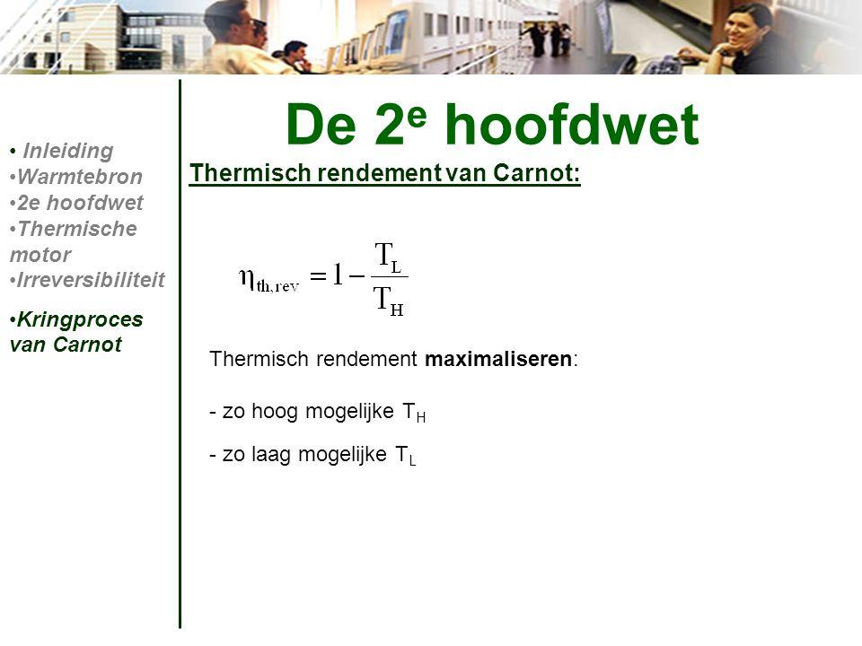 De 2e hoofdwet Thermisch rendement van Carnot: Inleiding Warmtebron