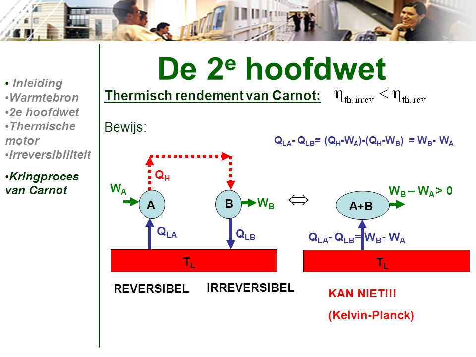 De 2e hoofdwet Thermisch rendement van Carnot: Bewijs: Inleiding