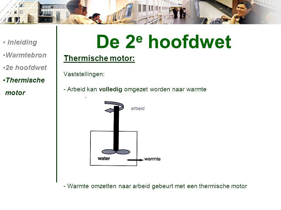 De 2e hoofdwet Thermische motor: Inleiding Warmtebron 2e hoofdwet