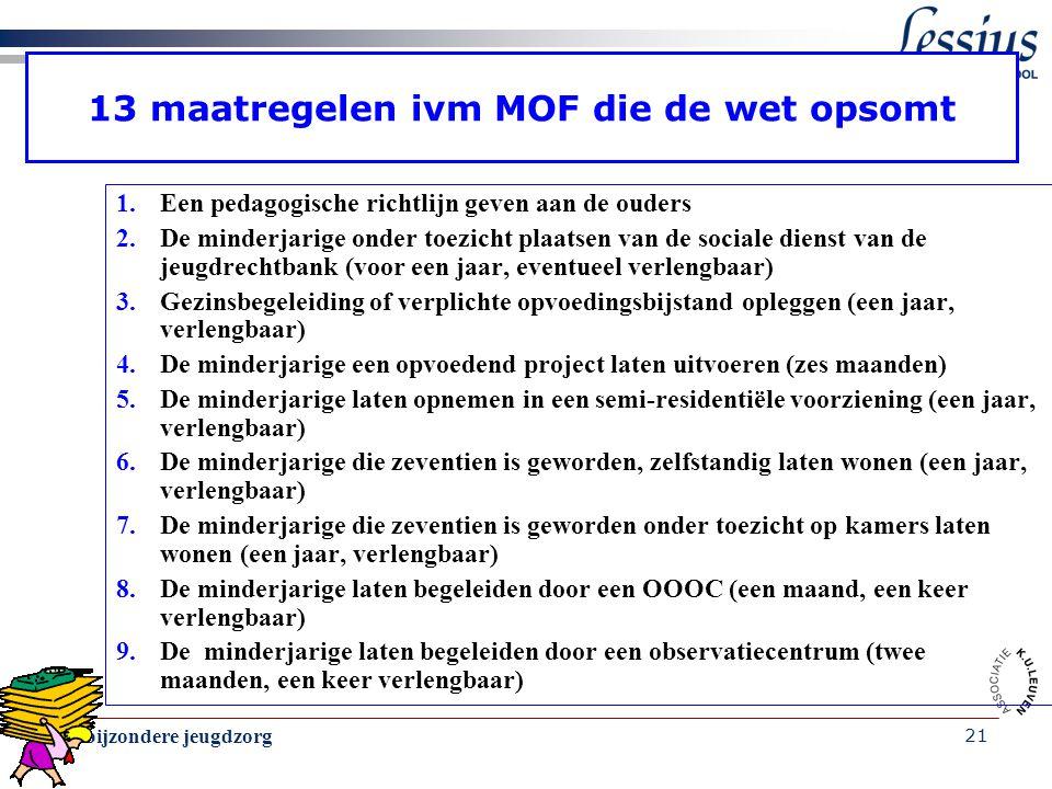 13 maatregelen ivm MOF die de wet opsomt