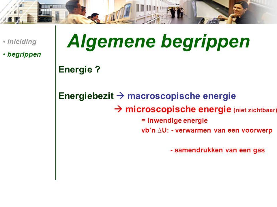 Algemene begrippen Energie Energiebezit  macroscopische energie