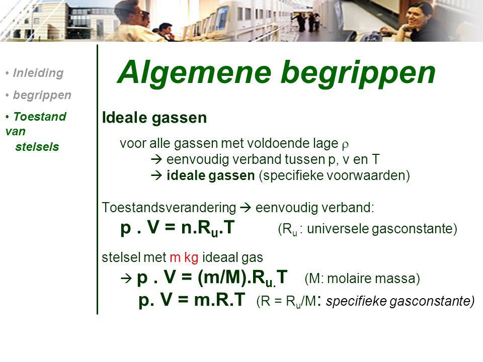 Algemene begrippen p. V = m.R.T (R = Ru/M: specifieke gasconstante)