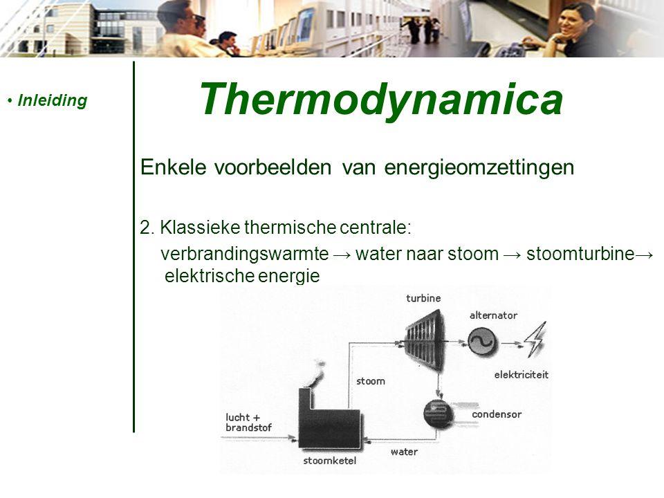 Thermodynamica Enkele voorbeelden van energieomzettingen
