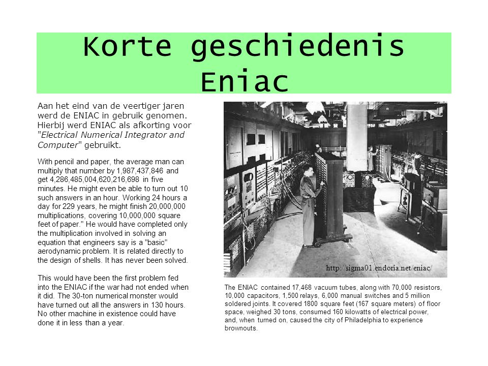 Korte geschiedenis Eniac